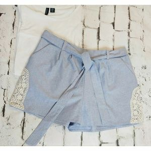 Miami Chambray Shorts with lace detail sz Lg